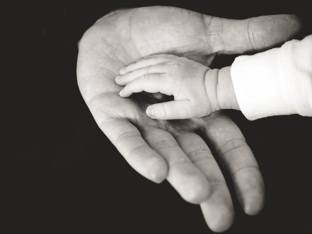 子供の小さな手と大人の大きな手