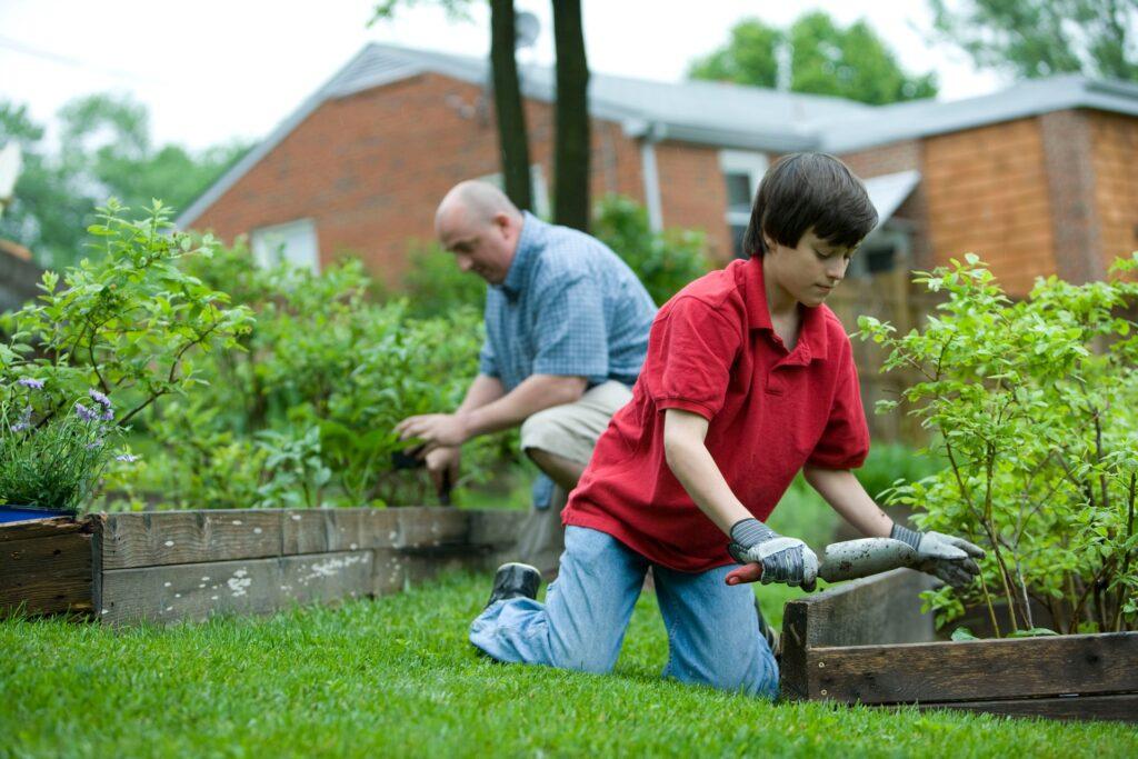 庭の手入れをする男性と少年