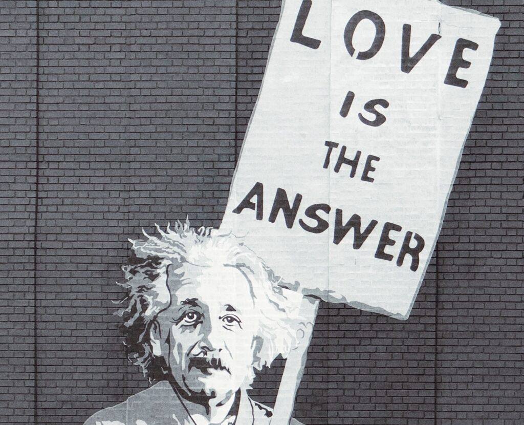 Einstein's sign says he likes the answer